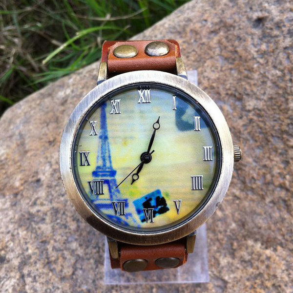 Retro Original Eiffel Tower Leather Watch - lilyby