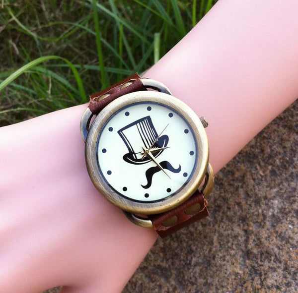 Vintage Beard print Leather Watch