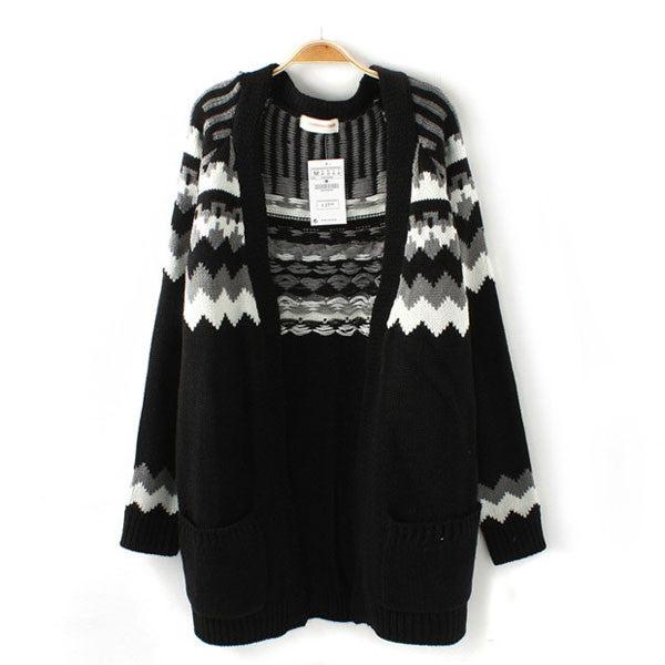 Black Geometric Jacquard Long Cardigan Sweater - lilyby