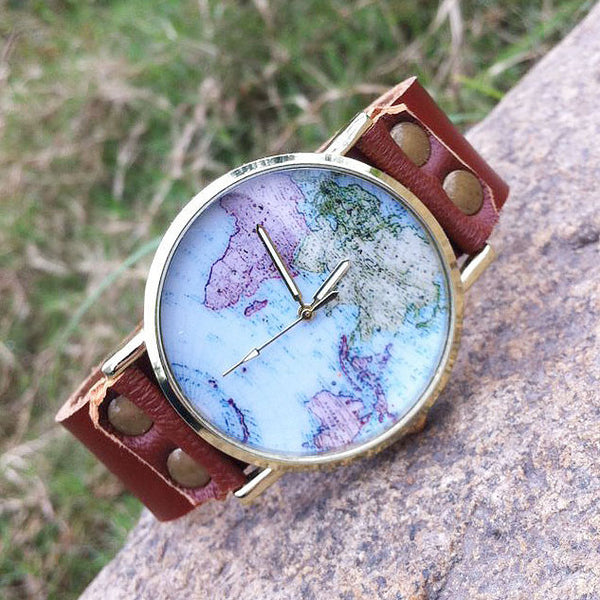 Handmade World Map Retro Leather Watch - lilyby