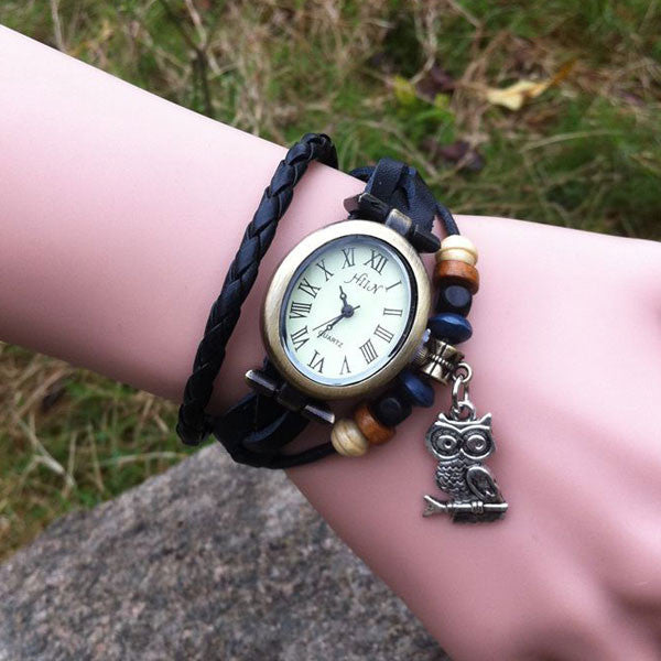 Retro Oval Owl Bracelet Watch
