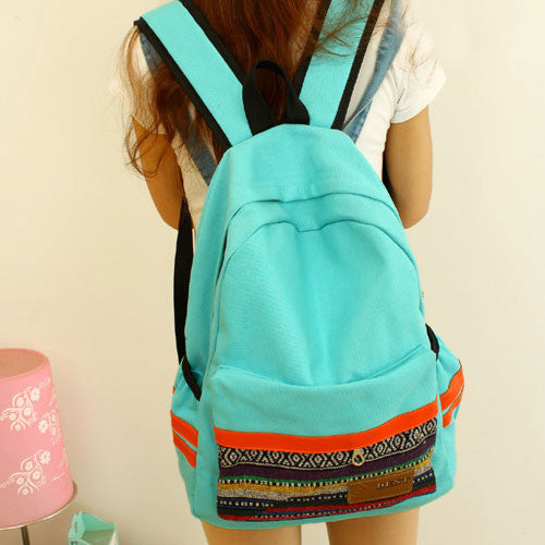 Retro Folk Geometric Canvas School Backpack