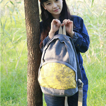 Retro Letters Printed Canvas Backpack