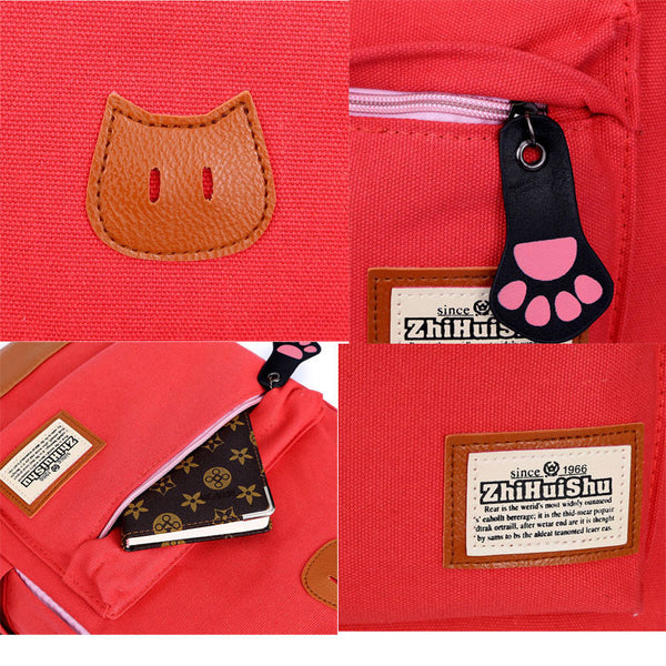 Cute Cat Ears Canvas Backpack Schoolbag - lilyby