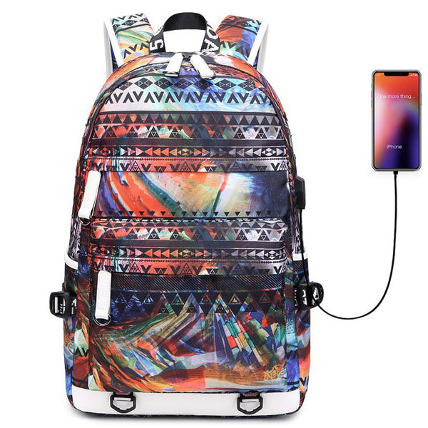 Leisure Colorful Irregular Shape Large Capacity Waterproof Young Student Backpack
