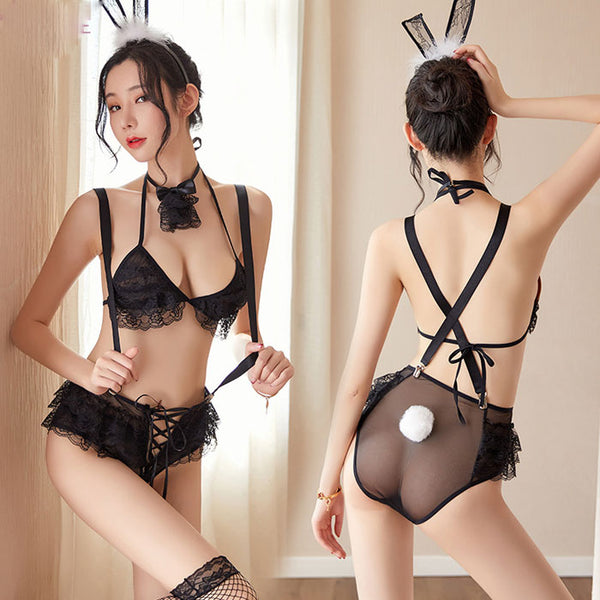 Sexy Lace Bunny Cat Girl Uniform Temptation Lingerie Bandage Panties Lingerie