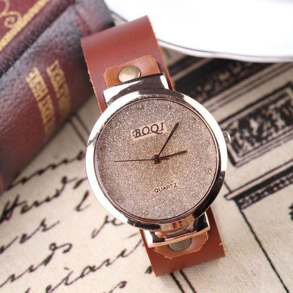 Handmade Shining Shining Rhinestone Leather Watch - lilyby