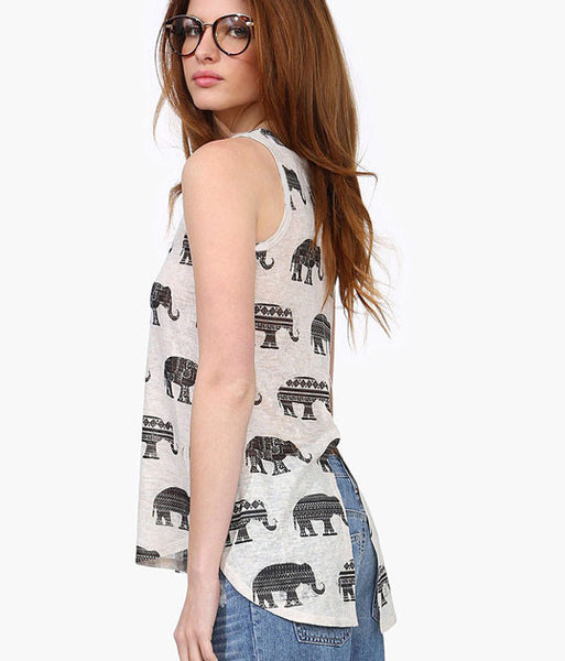 Elephant Printing Irregular Round Neck Sleeveless Vest T-shirt - lilyby