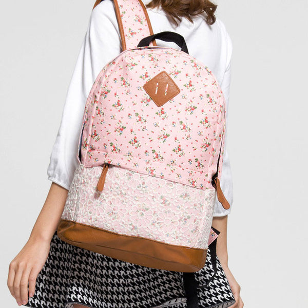 New Pink Floral Print Lace Backpack - lilyby