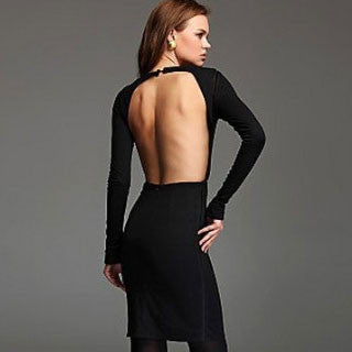 Backless Long Sleeve Halter Dress - lilyby