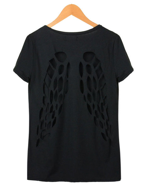 Back Hollow Angel Wings Short Sleeve T-shirt - lilyby