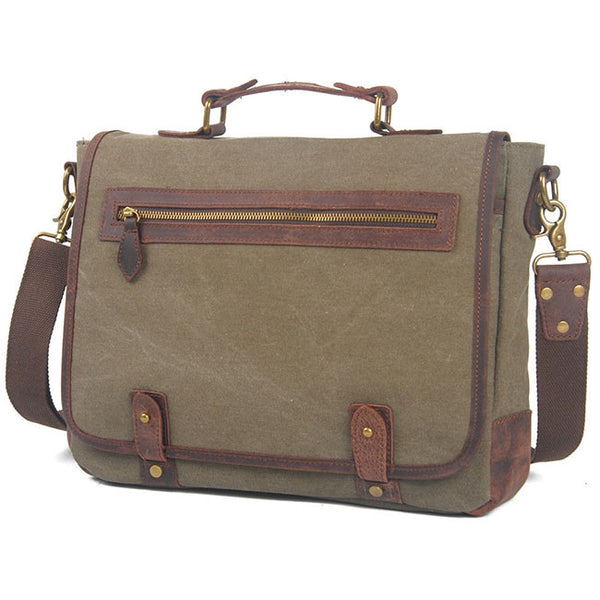 Vintage Large Splicing Leather Flap Square Handbag Briefcase Laptop Thick Canvas Shoulder Bag