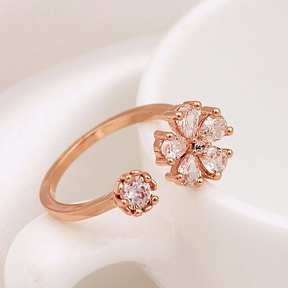 Latest Gold Plated Rhinestone Daisy Opening Ring - lilyby