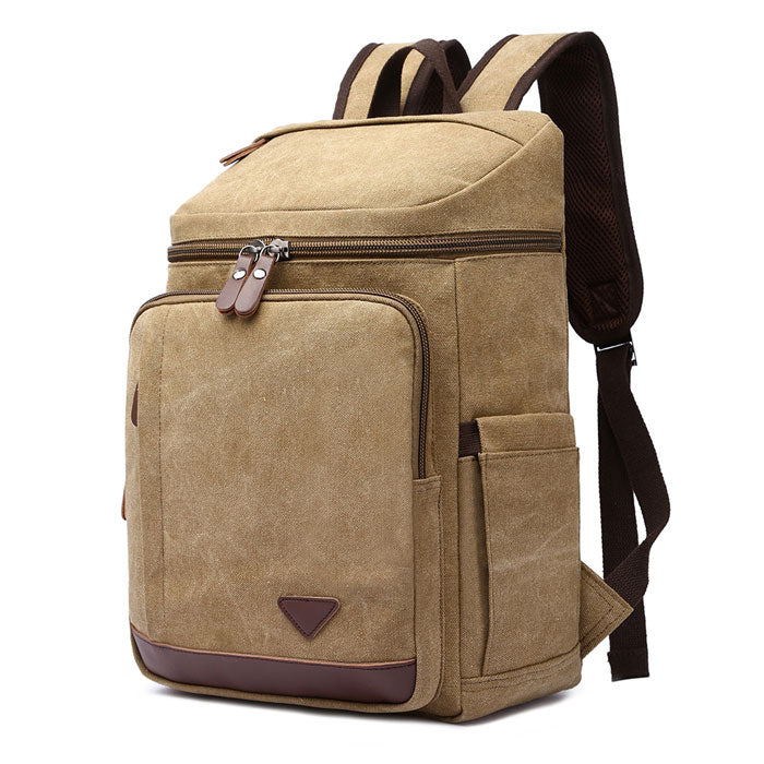 Retro High Capacity Outdoor Rucksack Laptop Bag Student Cylindrical Backpack Travel Men's Backpack