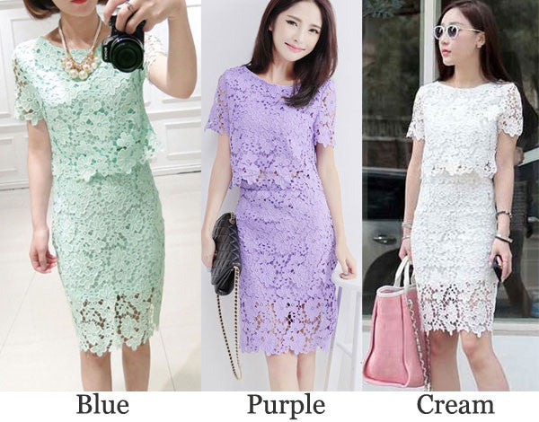 Two-piece Pierced Hook Lace OL Dress