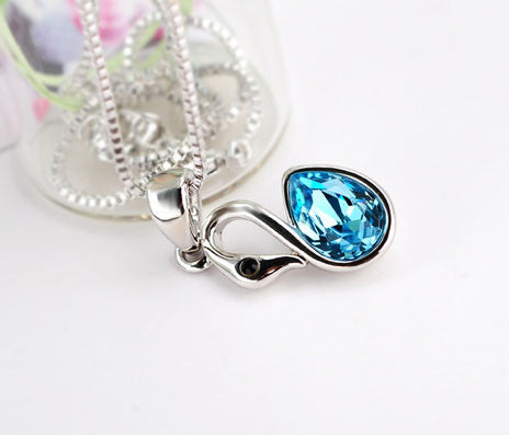 Pretty Little Swan Crystal Pendant Necklace - lilyby