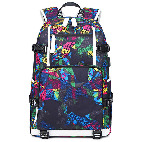 Fashion Water Fire Print Large-capacity Computer Backpack Waterproof For Middle School Students Backpack