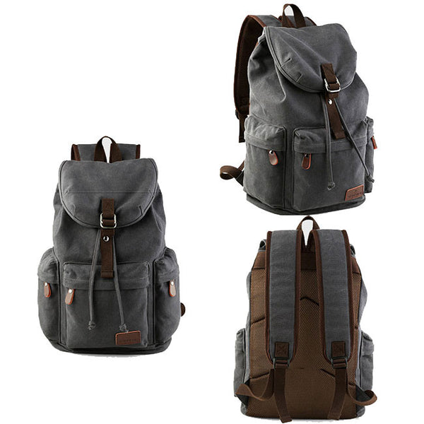 Retro Flap Camping Travel Canvas Backpack Large Capacity School Rucksack With USB Interface