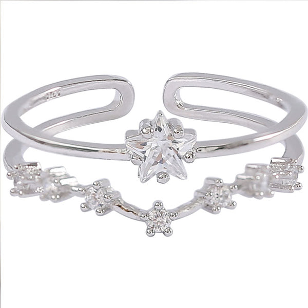 Cute Double Flower Star Silver Zircon Open Couple Ring