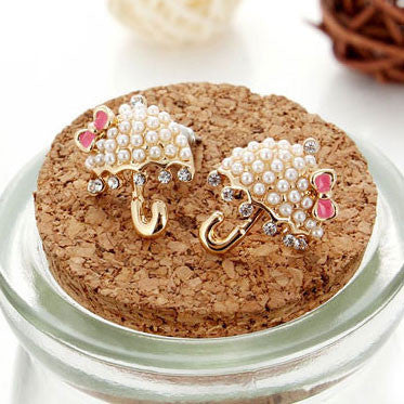 Cute Umbrella Pearls Bowknot Stud Earrings - lilyby