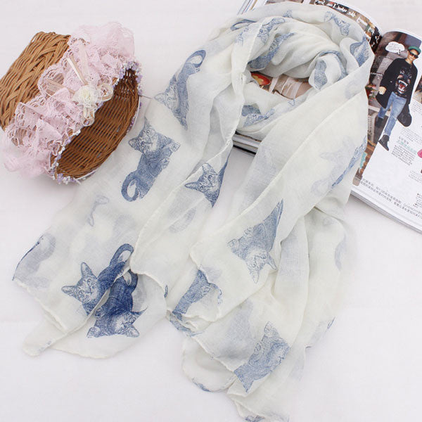Cute Small Cats Print Thin Voile Scarf - lilyby