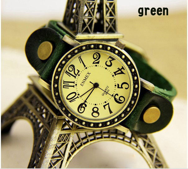 Cheap Fashion Retro watch with strap of leather- green - lilyby