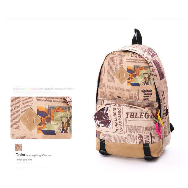 Unique World Map Newspaper Pattern Canvas Backpacks