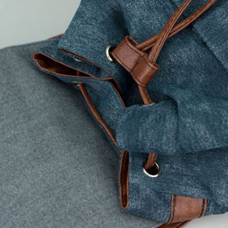 New Denim With Leather Fringeds Canvas Backpack - lilyby