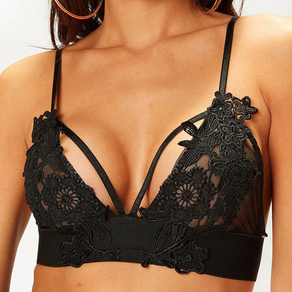Sexy Lace Camisoles Bra Hollow Sling Intimate Hook Flower Women Lingerie