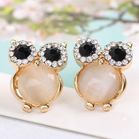 Cute Sweet Owl Opal Animal Stud Earrings - lilyby
