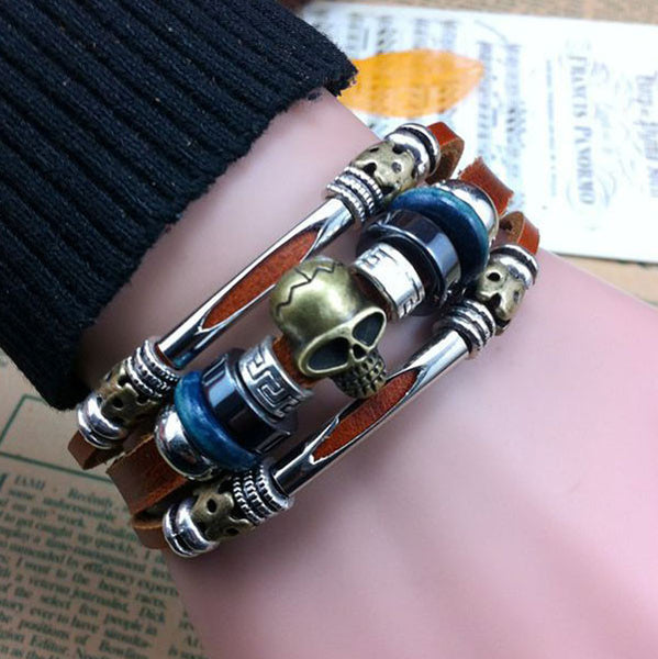 HandMade Skull Charms Buckle Leather Bracelets - lilyby