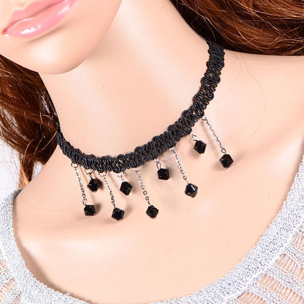 Ladies Crochet Lace Drops Necklace Chain - lilyby