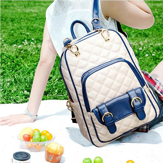Fashion Geometric British Printed Leather Backpack&School Bag - lilyby