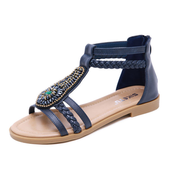 Leisure Bohemia Beaded Zipper Rhinestone Summer Flats Women's Shoes Roman Sandals