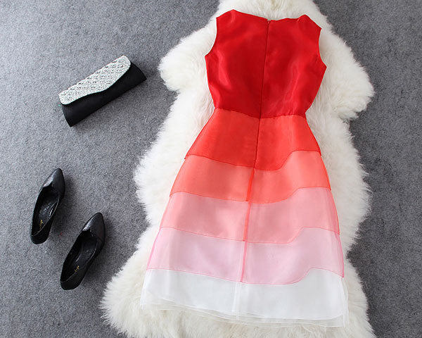 Celebrity Fashion Red Organza Gradient Color Flounced Dress - lilyby