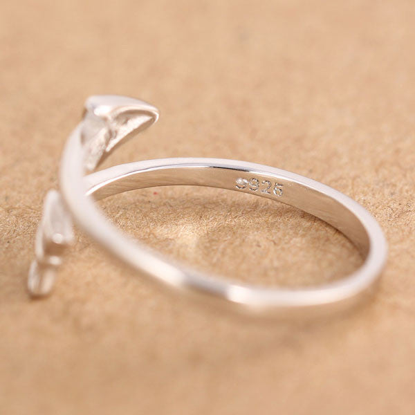 925 Sterling Silver Cupid Arrow Couple Opening Ring - lilyby
