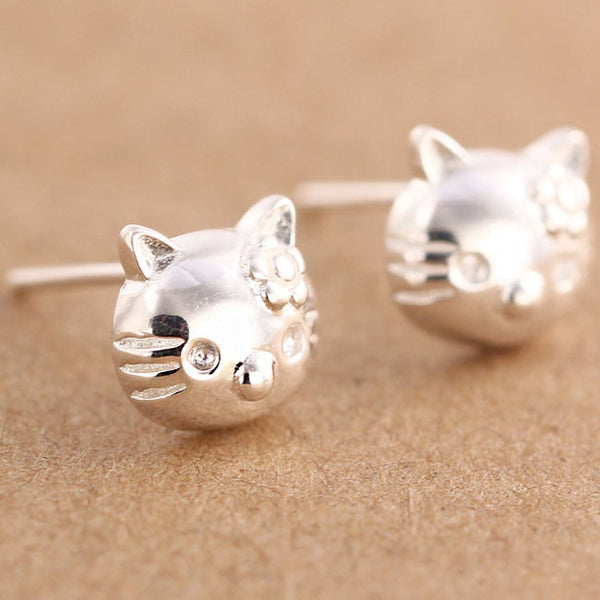 Lovely Cat Earpins Pure Silver Kitty Earrings Studs