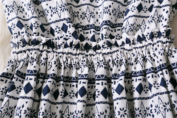 Geometry And Wave Point Pattern Sleeves Dress - lilyby