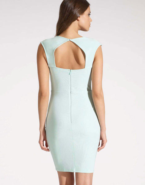 Unique Light Blue Bodycon Geometry Backless Dress