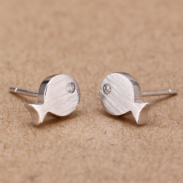 S925 Silver Fish Gold Plated Stud Earrings - lilyby
