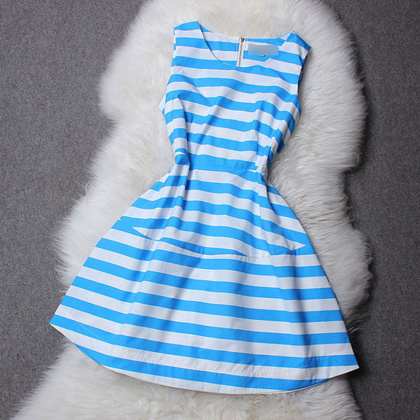 Colorful Blue and Pink Strip Sleeveless Dress - lilyby