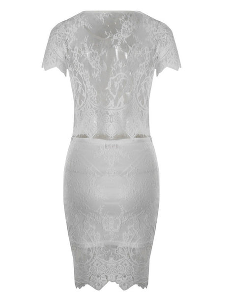 Pretty Flower Print See-through Bodycon Two-piece Lace Dress - lilyby