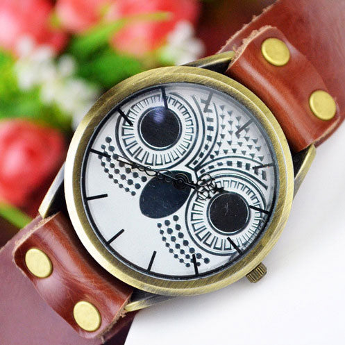 Retro Handmade Animal Watch Owl Rivet Leather Women Watch
