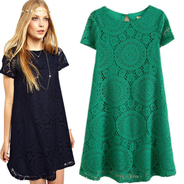 Latest Hollow Lace Short Sleeve A-line Dresses - lilyby