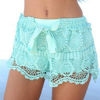 Fresh Geometry Pattern Bow Lace Shorts - lilyby