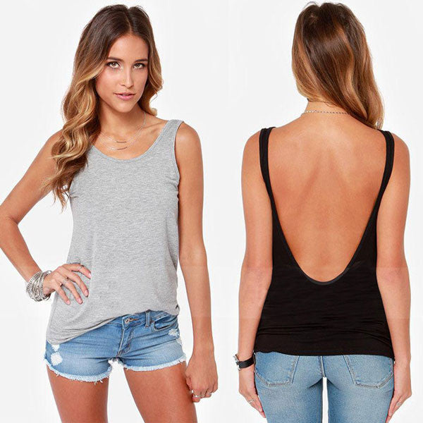 Sexy Back Deep V T-shirt Tops Lady Vest - lilyby