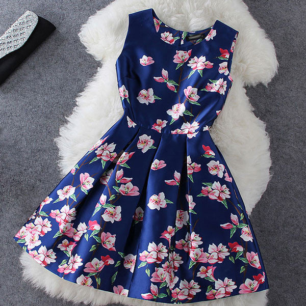 Blue Plum Flower Print Sleeveless Dress - lilyby