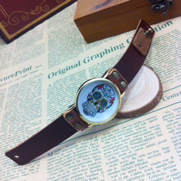 Vintage Skull Printing Punk Watch