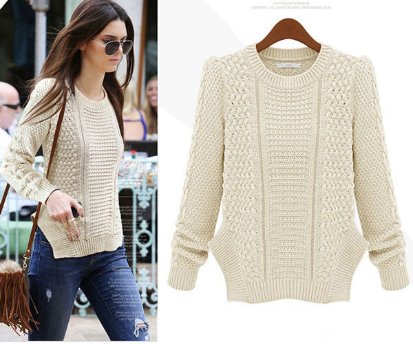 Personality Side Split Cable Knit Sweater - lilyby