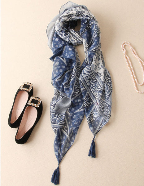 Country Fashion Fringed Long Cotton Scarves - lilyby